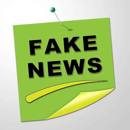 Fake News Note Meaning Falsehood 3d Illustration