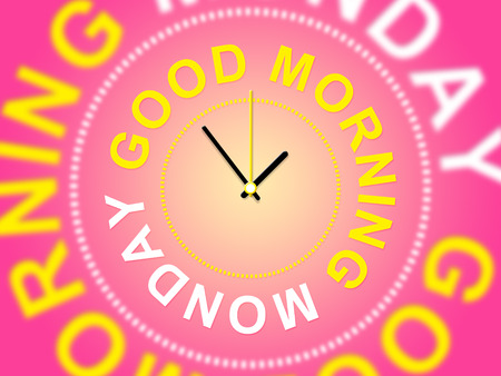 Good Morning Monday - Motivational Quotes Clock- 3d Illustration Stock Photo