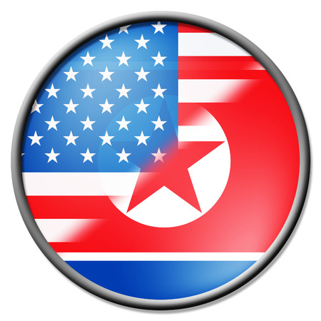 North Korea And United States Badge 3d Illustration. Shows The Conflict Or Peace And Talks Between Pyongyang And Trump