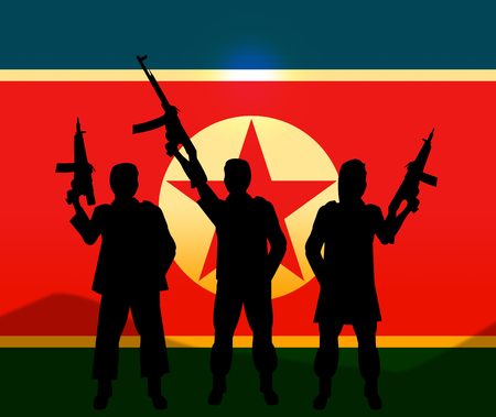 North Korea Soldiers And Flag 3d Illustration. Korean Infantry Warfare Or Battle Force Weapons Stock Photo