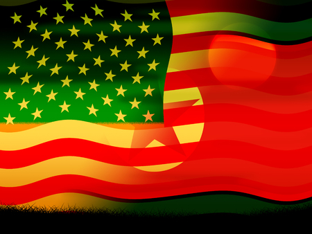 North Korean And US Diplomatic Agreement Flag 3d Illustration.