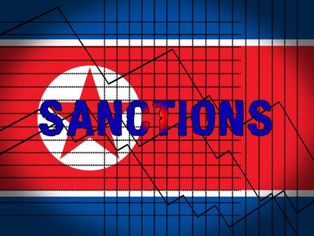 American Trade Sanctions Against North Korea 3d Illustration. Economic Administrative Embargo For International Trade Nuclear Violation Vs Dprk