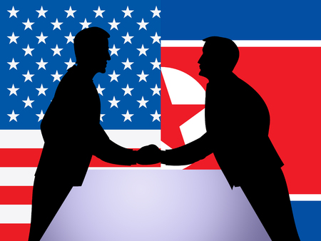 North Korean And US Diplomatic Hand Shake 3d Illustration. Conflict Or Crisis And Nuclear Talks Diplomacy