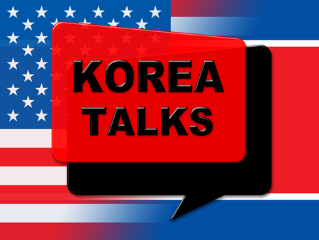 North Korea Peace Talks With Usa 3d Illustration. Peace And Cooperation To Build Accord With Dprk 版權商用圖片