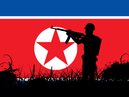 North Korea Army Military Confrontation 3d Illustration. DPRK Infantry Soldiers Or Battlefield Force For Conflict Stock Photo