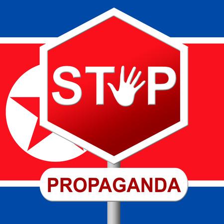 Propaganda From North Korea Dictator 3d Illustration. Disinformation And Fake News Manipulation From Dprk