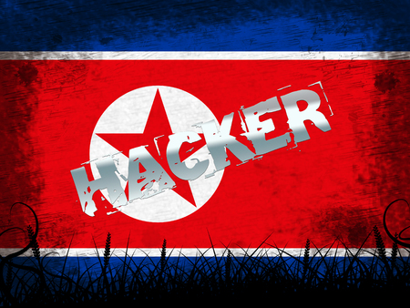 Hack Means North Korean Attack 3d Illustration. Online Criminal Cybercrime Spy From Dprk Using Phishing And Virus Versus Online Information Technology 版權商用圖片