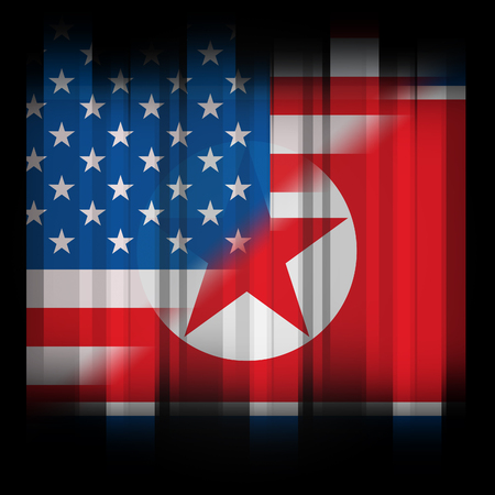 North Korea And American Talks Flag 3d Illustration. Shows The Sanction Or Peace And Diplomacy Between Pyongyang And Usa