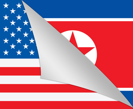North Korean And US Diplomatic Flag 3d Illustration. War Or Friendship And Nuclear Talks Deal Stock Photo