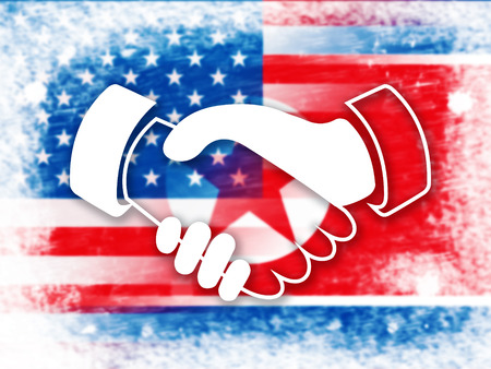 Usa North Korea Peace Holding Hands 3d Illustration. Pacifist Hope For Denuclear Talks Between Trump And Dprk Crisis