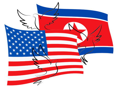 United States North Korean Peace Doves 3d Illustration. Pacifist Freedom And Denuclearization Stock Photo
