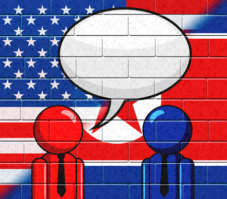 North Korean American Meeting Speech Bubble 3d Illustration. Conflict And Accord To Build Peace Stock Photo