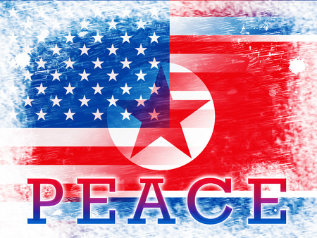 American North Korea Peace Freedom Flag 3d Illustration. Peaceful Meeting And Accord Between United States And Pyongyang Cooperation Talks