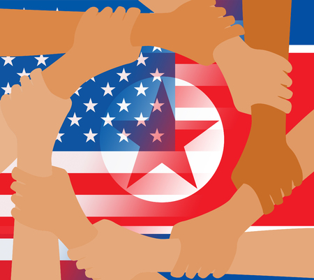 Usa North Korean Peace Hands Flags 3d Illustration. Pacifist Freedom And Denuclearization Accord Between US And Rocket Man Crisis Talks