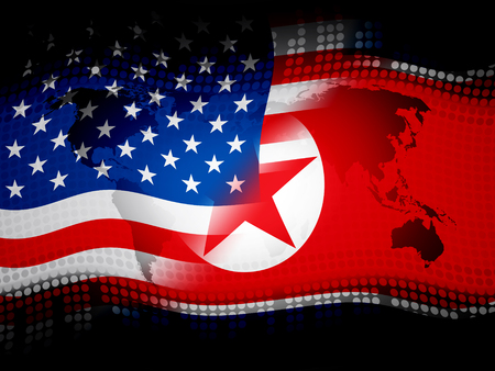 North Korea And US Diplomatic Deal 3d Illustration. War Or Sanctions And Nuclear Conflict Agreement Between NK And Usa