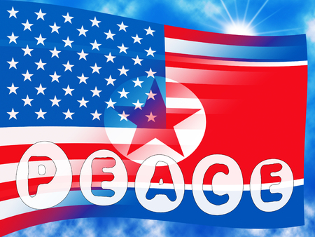 United States North Korea Usa Peace Flag 3d Illustration. Denuclearization Meeting And Accord Between US And NK Dprk Cooperation Talks