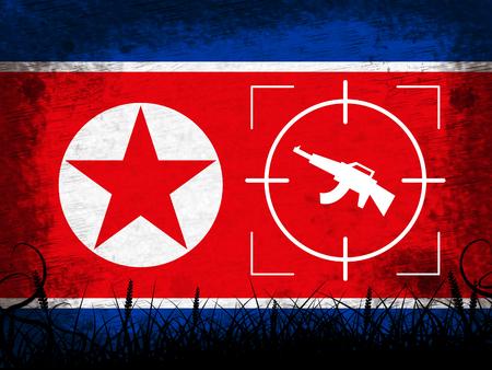 North Korea Military And Flag 3d Illustration. Korean Infantry Confrontation Or Battle Force Weapons For Battle By NK Reklamní fotografie