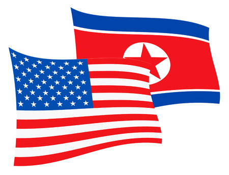 North Korea And United States Talks Flags 3d Illustration. Shows The Diplomacy Or Defense And Friendship Between Pyongyang And Usa