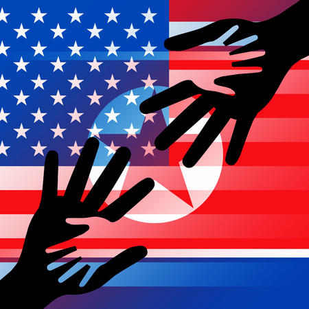 North Korean And US Diplomatic Hands 3d Illustration. Conflict Or Friendship And Nuclear Talks Deal Between  US And NK Stock Photo