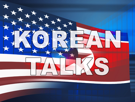 North Korea Cooperation Talks With Usa 3d Illustration. Peace And Confrontation To Build Accord With Dprk Or NK Stock fotó
