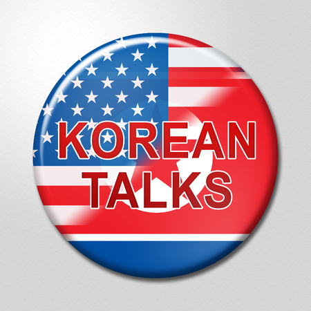 North Korean United States Talks Badge 3d Illustration. Cooperation And Talks With NK To Build Rapport With US Stock Photo