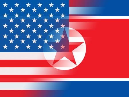 North Korea And US Crisis Conflict 3d Illustration. Threat Or Sanctions And Nuclear Defense Talks Between NK And Usa Stock Photo