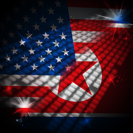 North Korean And American Sanctions Threat 3d Illustration. Shows The Conflict Or Talks And Diplomacy Between  US And NK