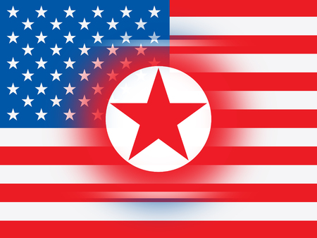 North Korean And American Flag 3d Illustration. Shows The Conflict Or Peace And Friendship Between NK And Usa