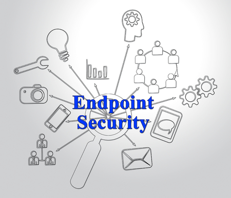 Endpoint Security Safe System Shows Safeguard Against Virtual Internet Threat - 2d Illustration Stock Photo