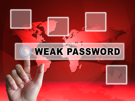 Password Weak Hacker Intrusion Threat 3d Illustration Shows Cybercrime Through Username Vulnerability And Compromised Computer Foto de archivo - 104894004