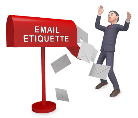 Email Etiquette Electronic Message Rules 3d Rendering Shows Proper Electronic Mail Polite Correspondence To Send Promotions Standard-Bild