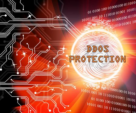 Ddos Protection Denial Of Service Security 2d Illustration Shows Malware And Intruder Risk On System Or Web