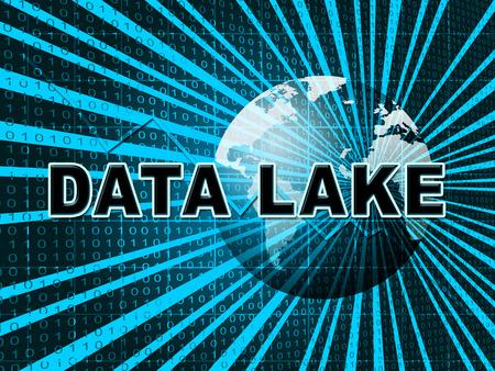 Data Lake Digital Datacenter Cloud 3d Illustration Shows Mainframe Supercomputer Storage Of Bigdata Complex Information