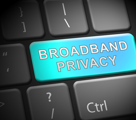 Broadband Privacy Secure Internet Protection 3d Illustration Shows Telecommunication And Wireless Streaming Shield Over Network