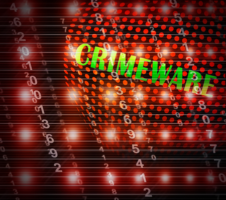 Crimeware Digital Cyber Hack Exploit 3d Illustration Shows Computer Crime And Digital Malicious Malware On Internet Or Computer Foto de archivo - 104936085