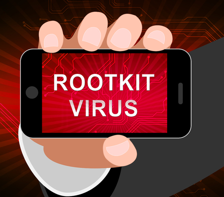 Rootkit Virus Cyber Criminal Spyware 2d Illustration Shows Criminal Hacking To Stop Spyware Threat Vulnerability 版權商用圖片