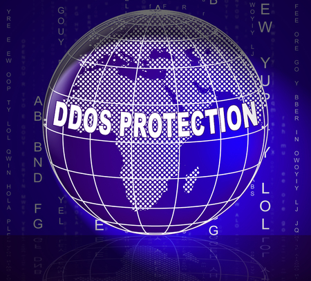 Ddos Protection Denial Of Service Security 3d Illustration Shows Malware And Intruder Risk On System Or Web 版權商用圖片