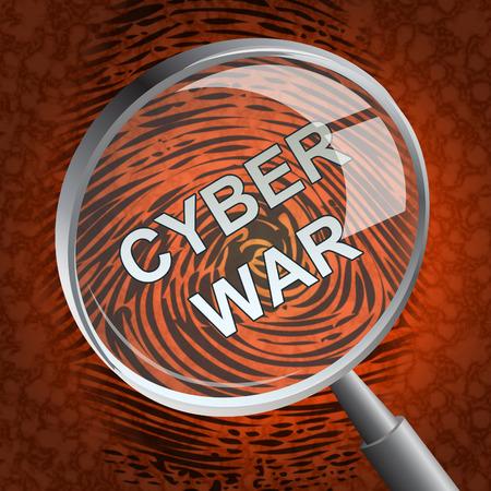 Cyberwar Virtual Warfare Hacking Invasion 3d Rendering Shows Government Cyber War Or Army Cyberterrorism Combat