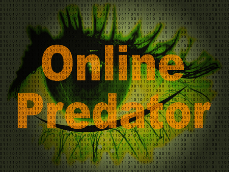 Online Predator Stalking Against Unknown Victim 2d Illustration Shows Cyberstalking Offenders Abuse On Young Teens Stock Photo