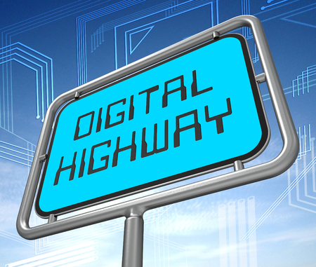 Digital Highway Sign Virtual Roadway 3d Illustration Shows Website Traffic Or The Urban Infrastructure Expressway