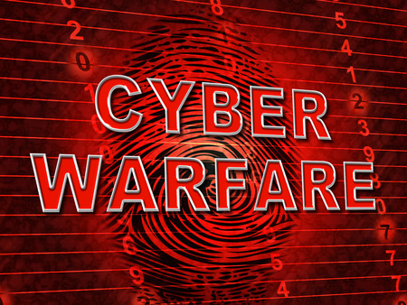 Cyberwarfare Digital Armed Attack Surveillance 3d Illustration Shows Offensive Cyber War Or Tactical Technology Threat Combat Stock Photo