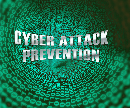 Cyber Attack Prevention Security Firewall 3d Illustration Shows Computer Breach Protection From Threats Or Virus