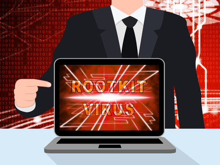 Rootkit Virus Cyber Criminal Spyware 3d Illustration Shows Criminal Hacking To Stop Spyware Threat Vulnerability