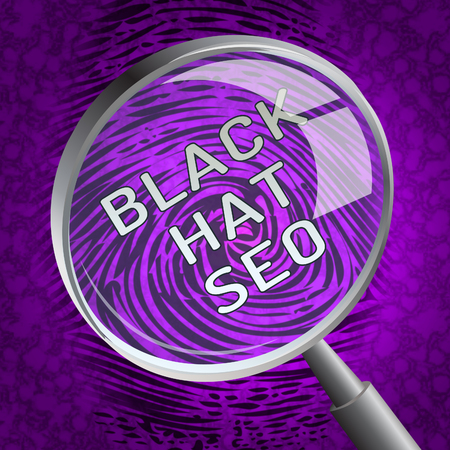 Black Hat Seo Website Optimization 3d Rendering Shows Search Engine Marketing Such As Linkbuilding Keywords Ranking And Promotion