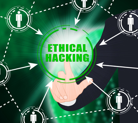 Ethical Hacking Data Breach Tracking 2d Illustration Shows Corporate Tracking To Stop Technology Threats Vulnerability And Exploits