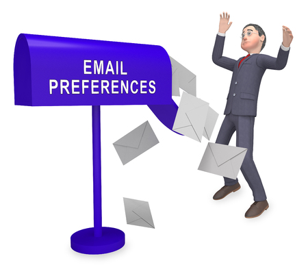 Email Preferences Mailbox Profile Settings 3d Rendering Shows Choosing Configuration To Receive Or Block Electronic Mail