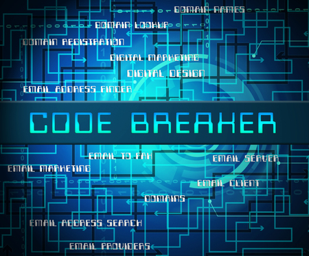 Code Breaker Decoded Data Hack 2d Illustration Shows Encryption Breaking And Cyber Source Decoded 版權商用圖片