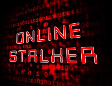 Online Stalker Evil Faceless Bully 3d Illustration Shows Cyberattack or Cyberbullying By A Suspicious Spying Stranger Stock Photo