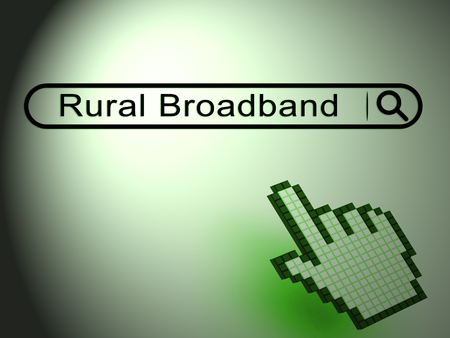 Rural Broadband Countryside Data Connection 2d Illustration Shows Cellular Data Communication And Wireless Transmission Stock Photo