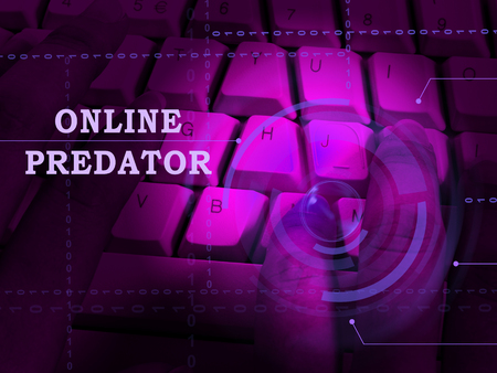 Online Predator Stalking Against Unknown Victim 3d Illustration Shows Cyberstalking Offenders Abuse On Young Teens